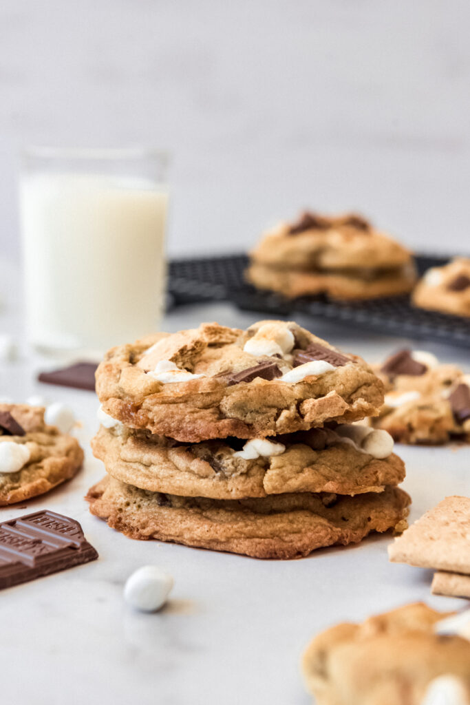 A stack of s'mores cookies.