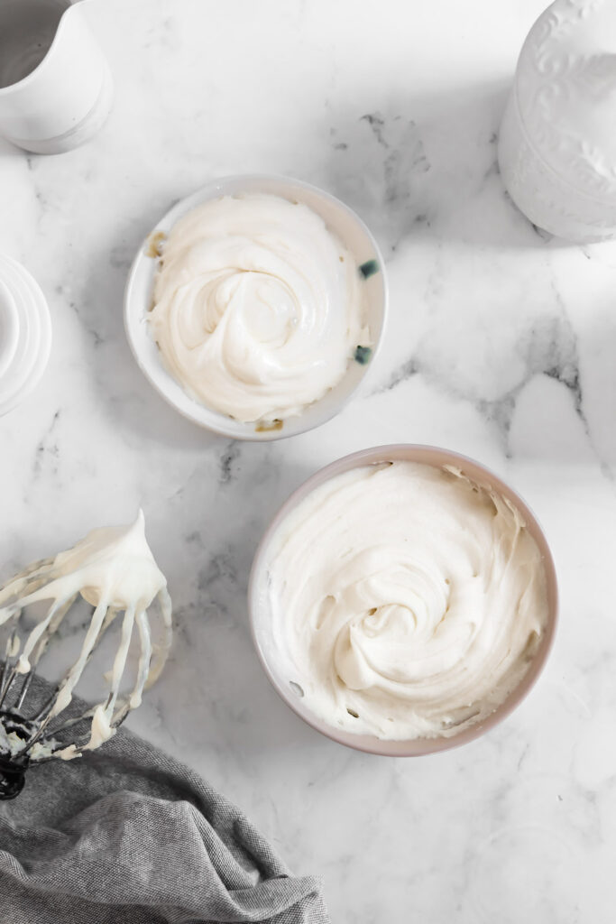 bowls of frosting