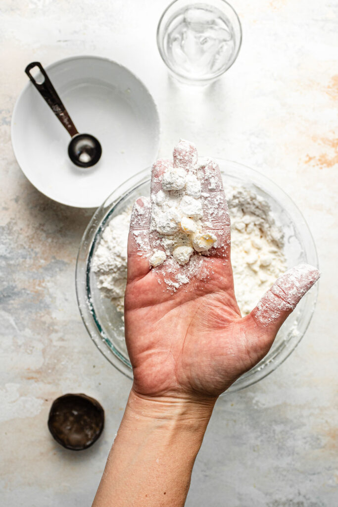 blending butter into flour