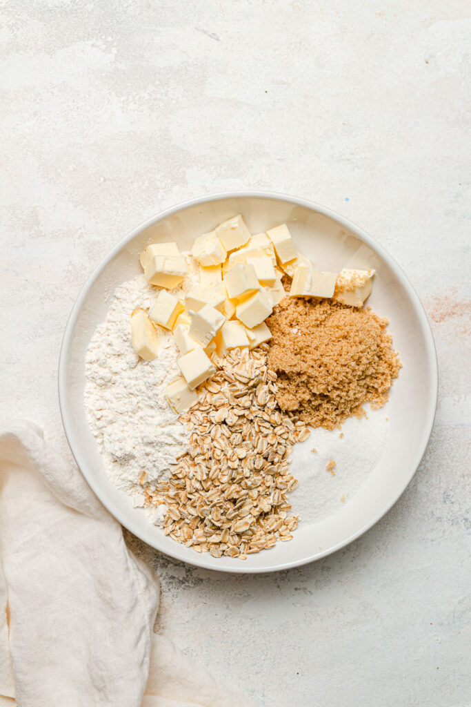 crumble ingredients in bowl