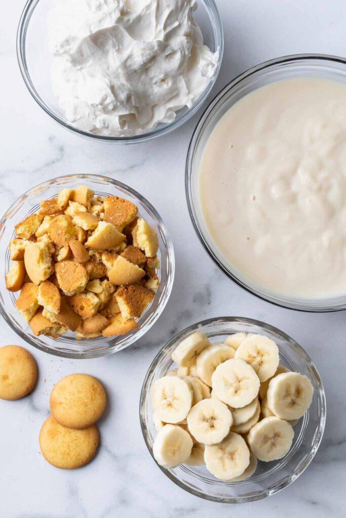 banana pudding ingredients overhead