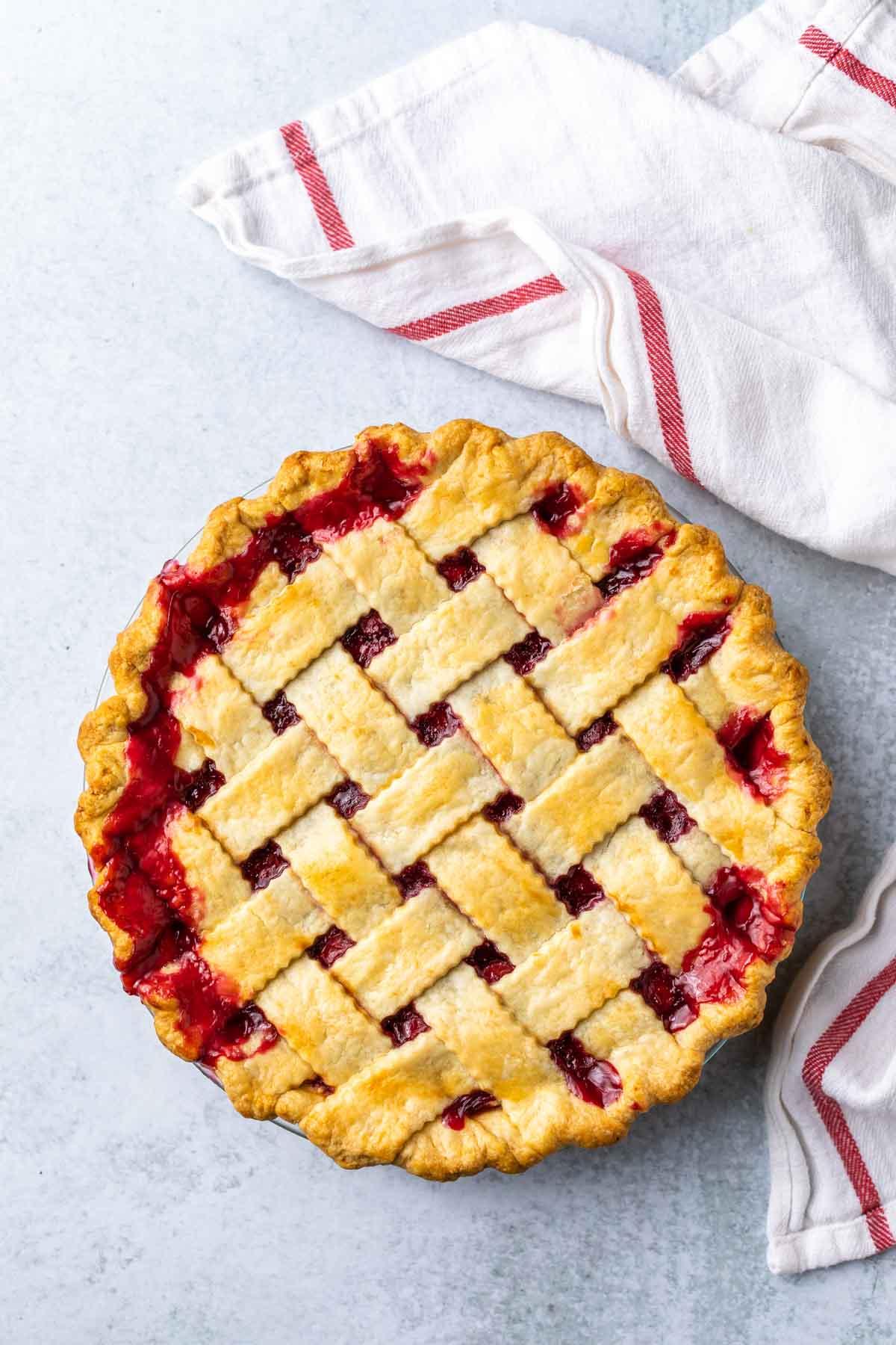 baked cherry pie with lattice pie crust