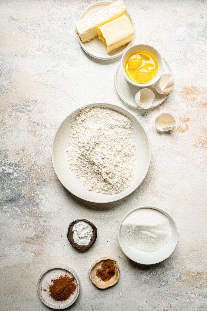snickerdoodle cookie ingredients on grey background