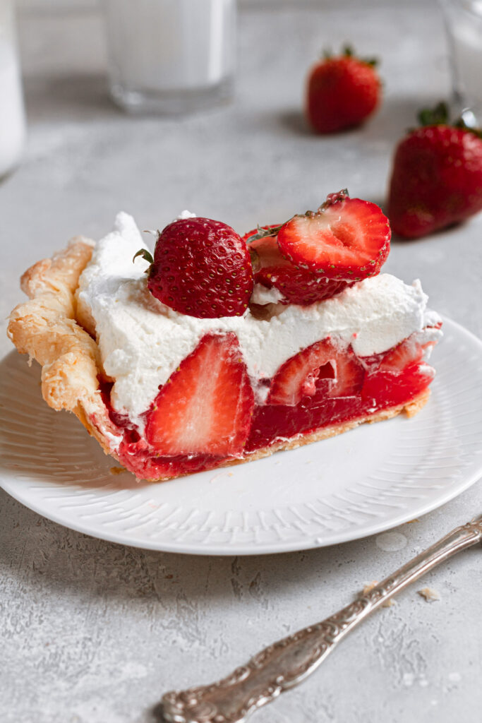 slice of strawberry pie with jello