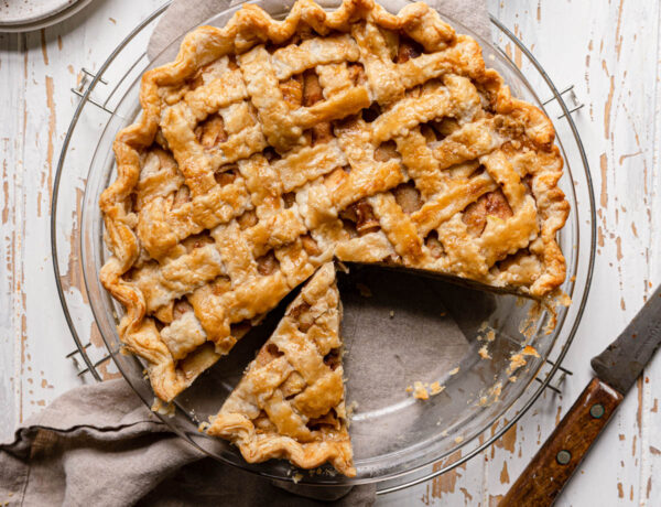 sliced apple pie with two missing pieces