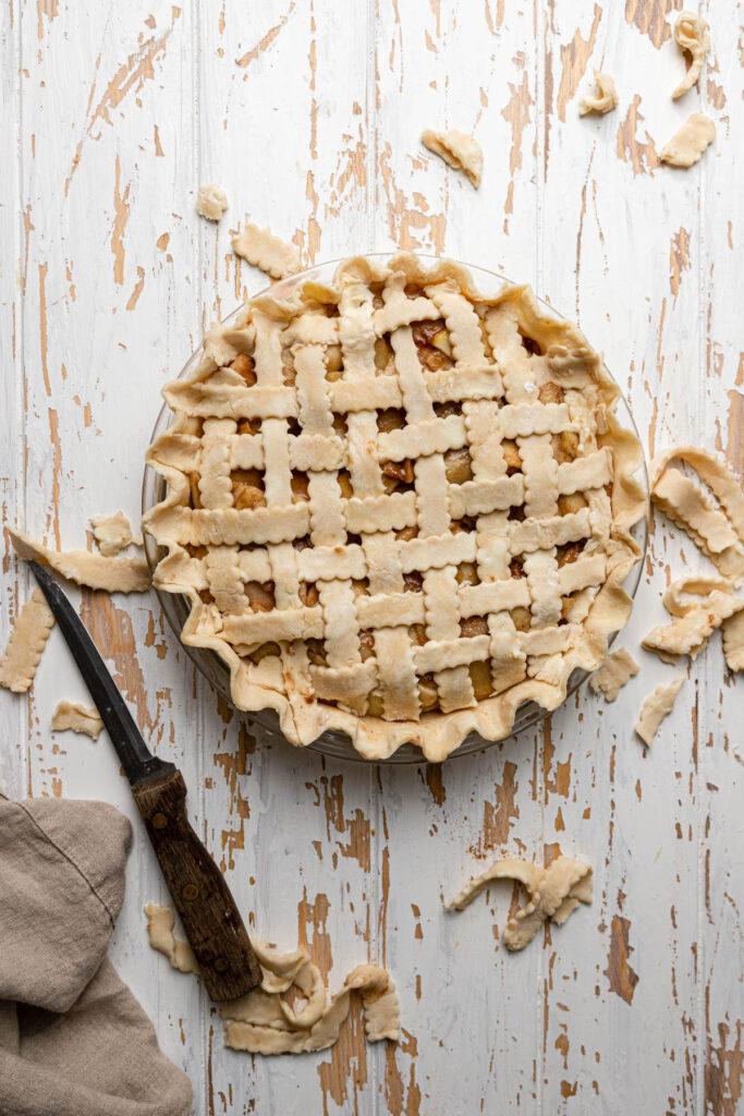 uncooked apple pie with lattice crust