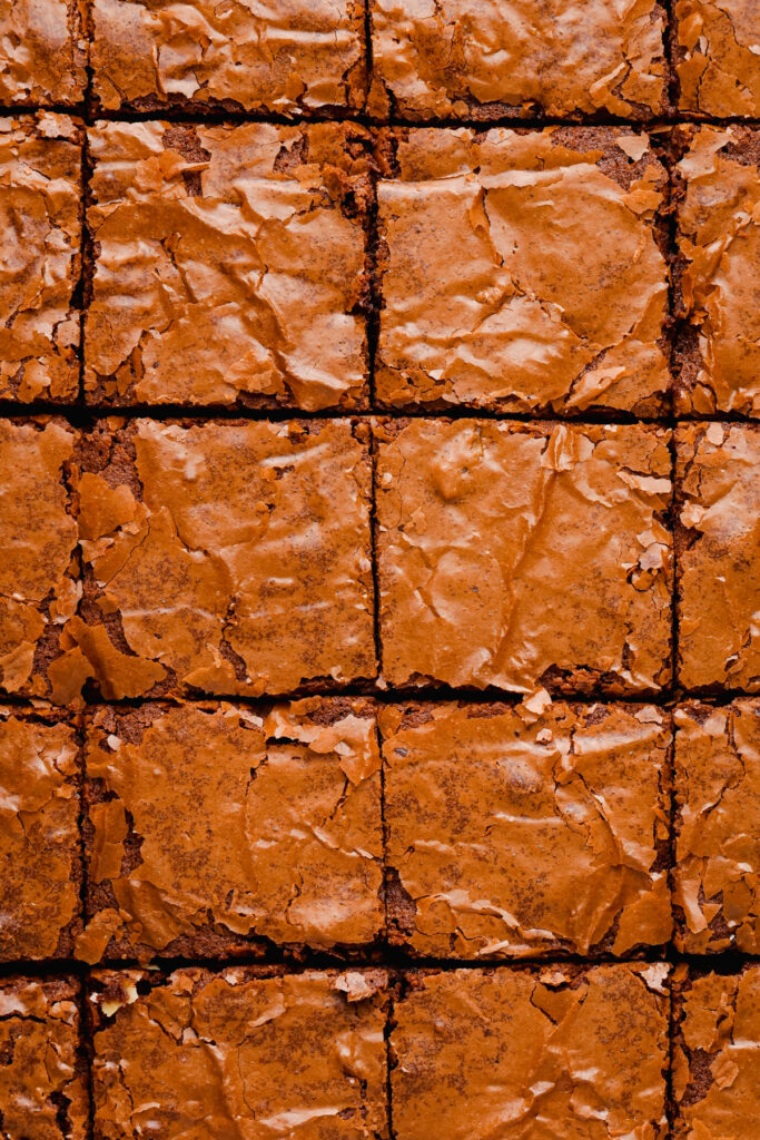 pan of brownies cut into squares