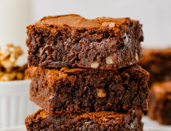 stack of three brownies
