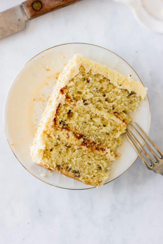 slice of italian cream cake on plate