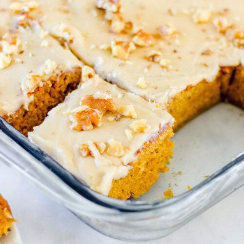 pumpkin bars in baking pan