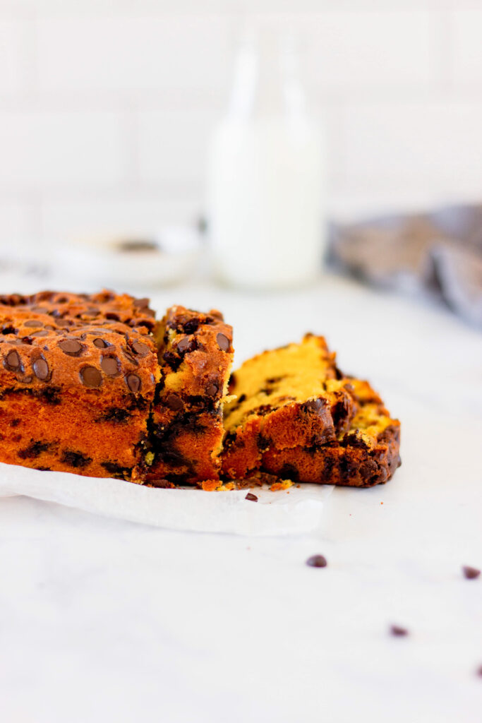 side view of slices of pumpkin chocolate chip bread