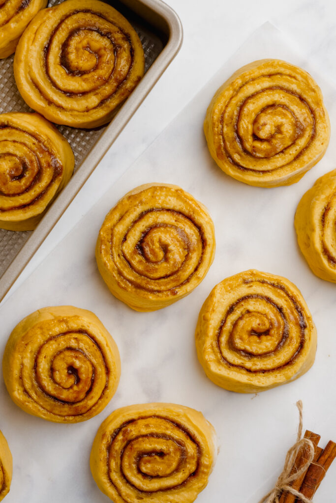 unbaked pumpkin cinnamon rolls