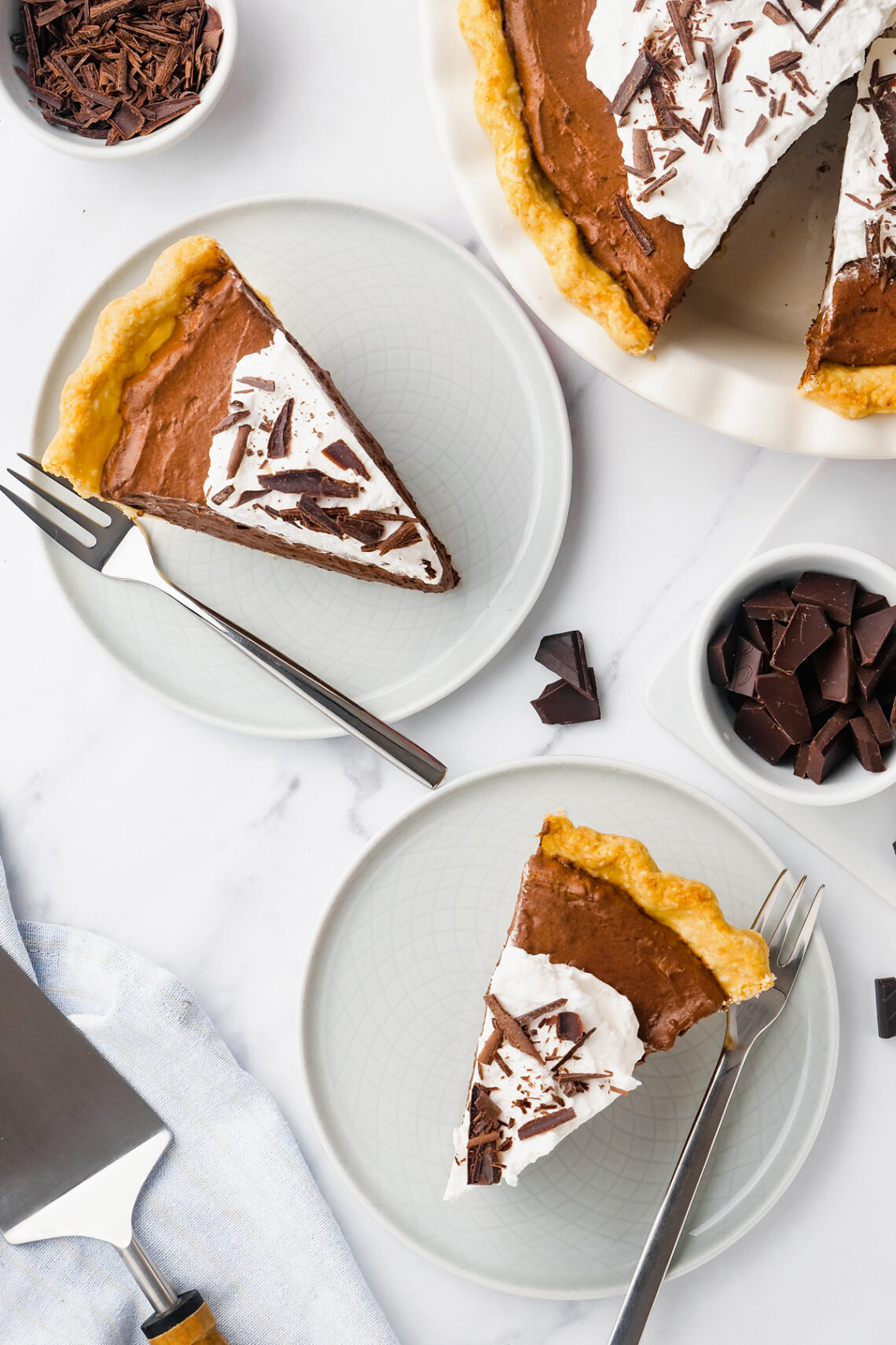 Chocolate pie slices to down view