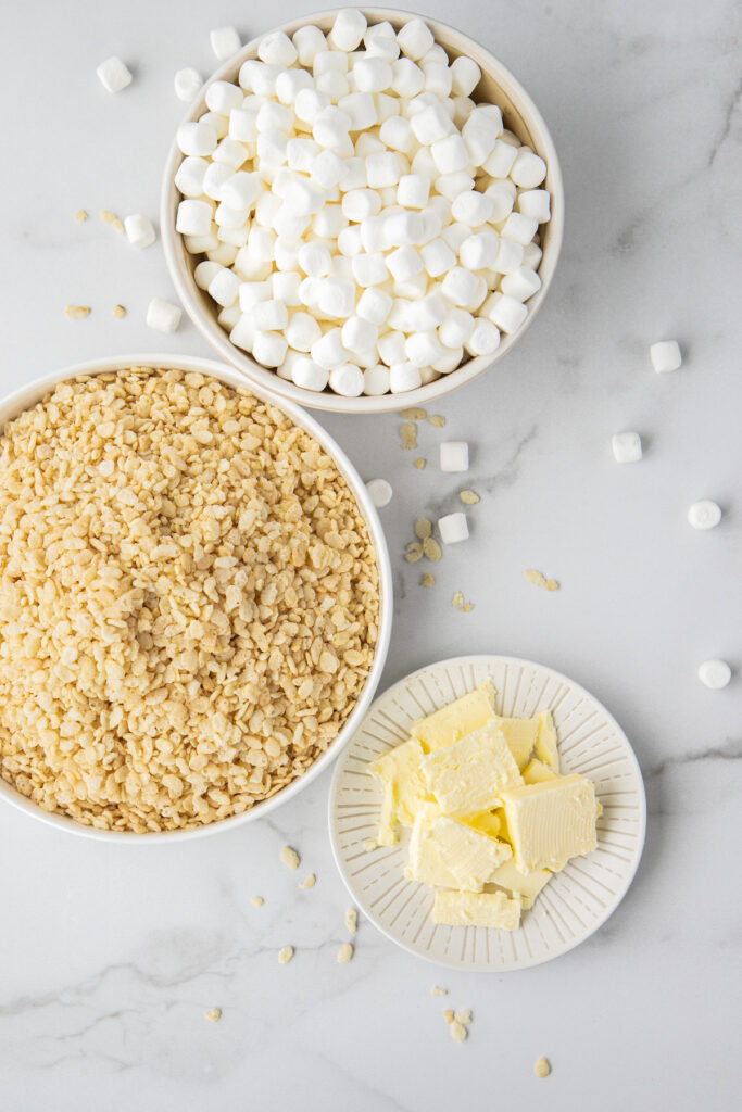 brown butter rice krispie treats ingredients in white dishes