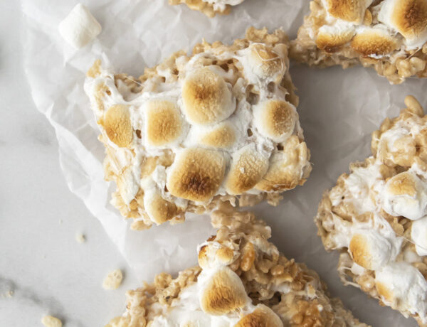 brown butter rice krispie treats on parchment paper