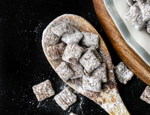 muddy buddies in a wooden spoon