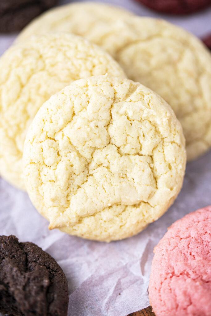 close up of cake mix cookies