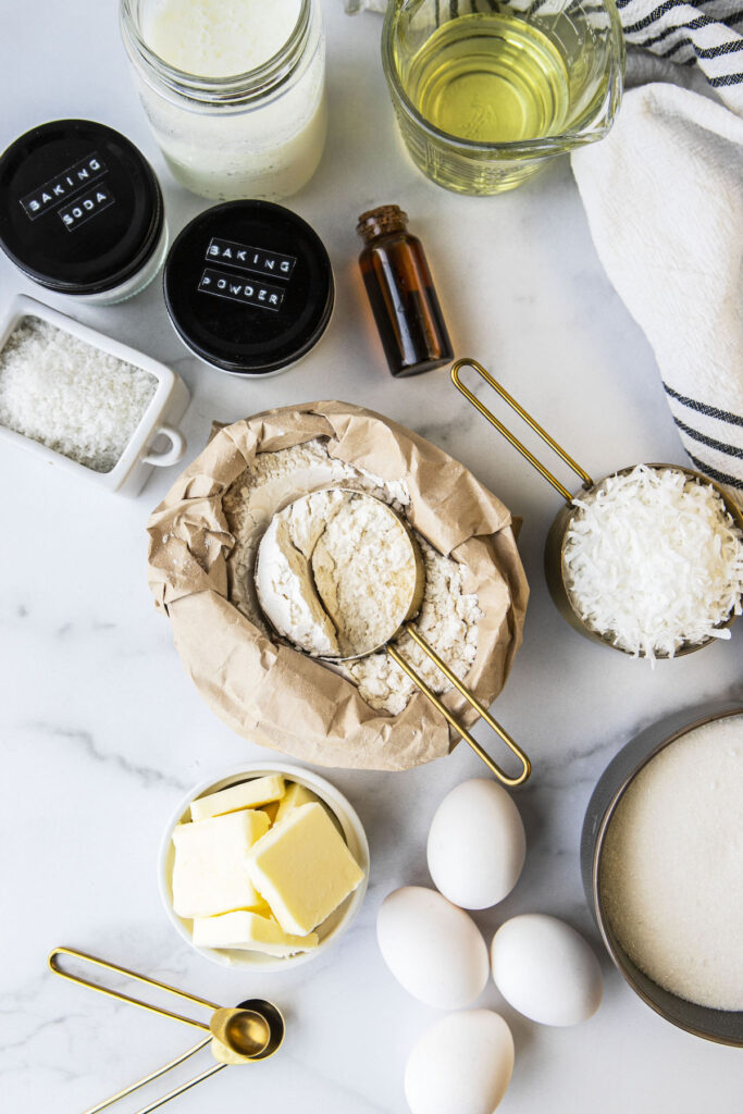 top down view of ingredients for coconut cake on a counter