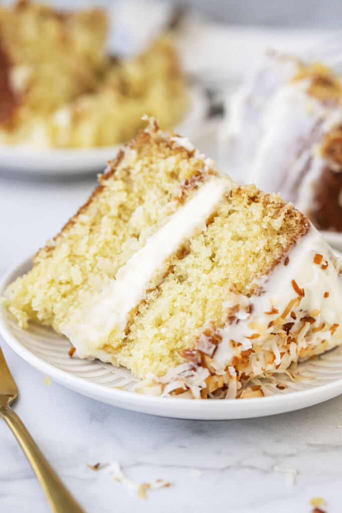 close up of a slice of coconut cake