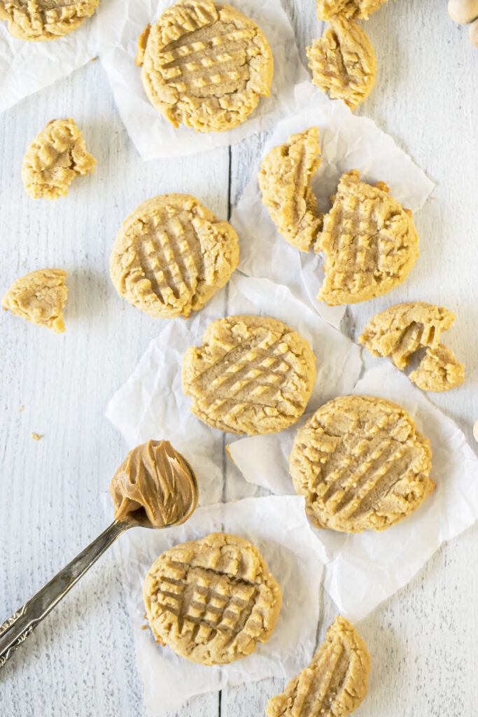 top down view of peanut butter cookies
