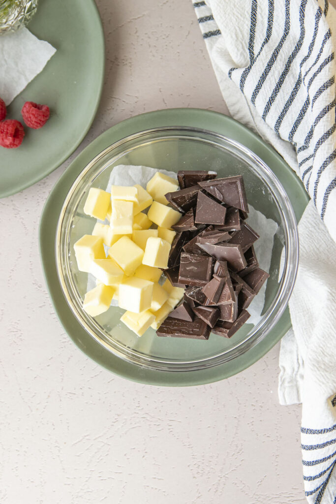 butter and chopped chocolate in a glass bowl