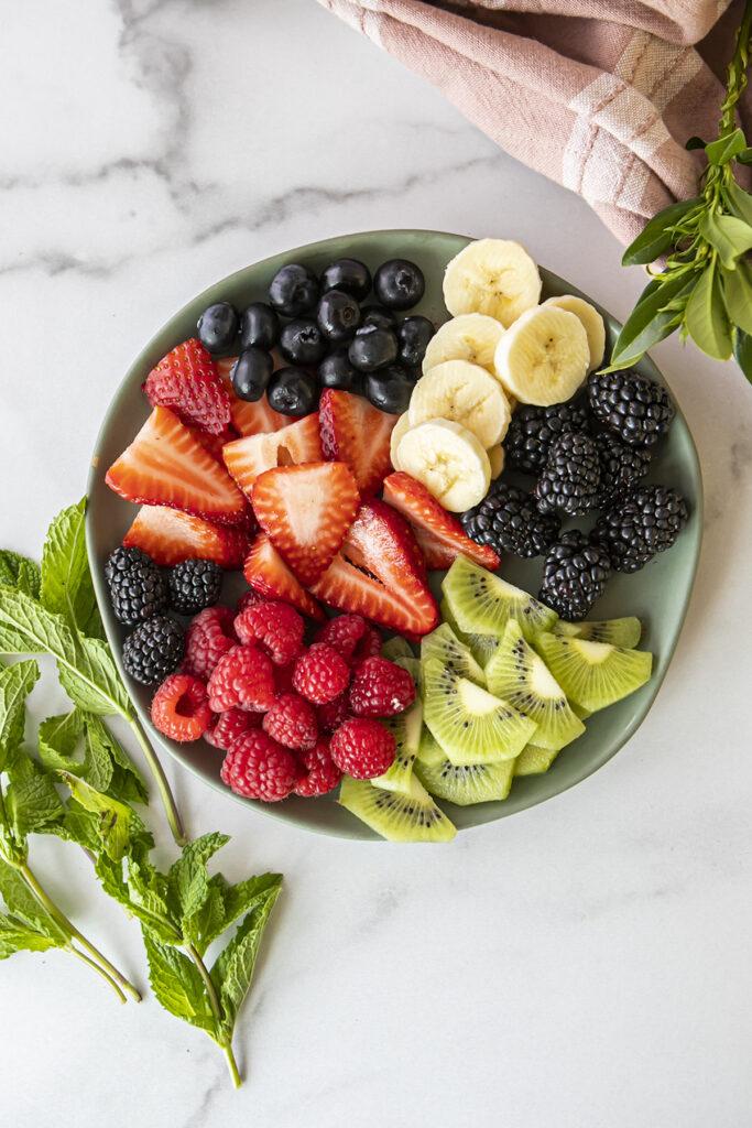 sliced fruit in a bowl
