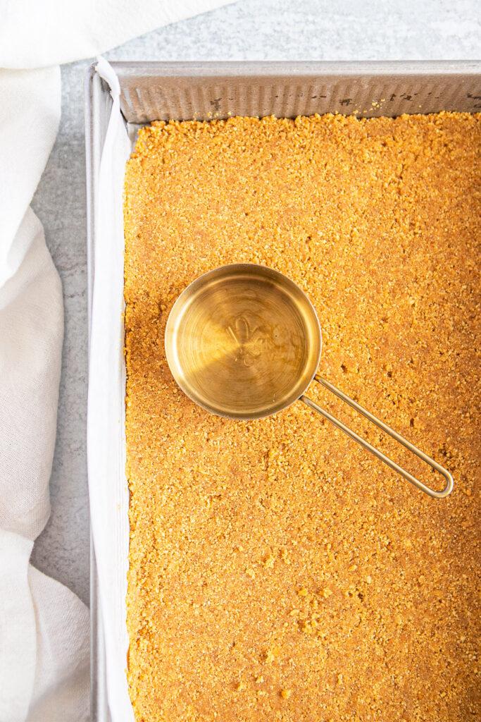 graham cracker crust in baking dish