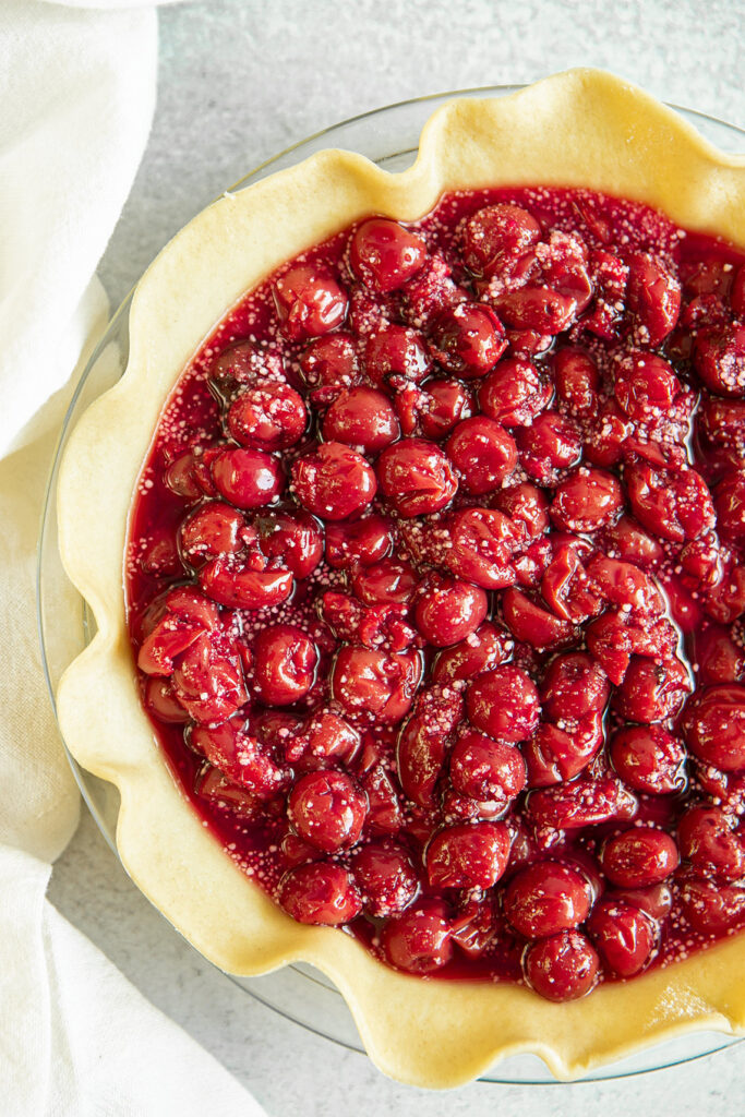 cherry pie filling in pie crust unbaked