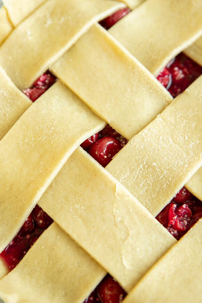 close up of pie dough lattice