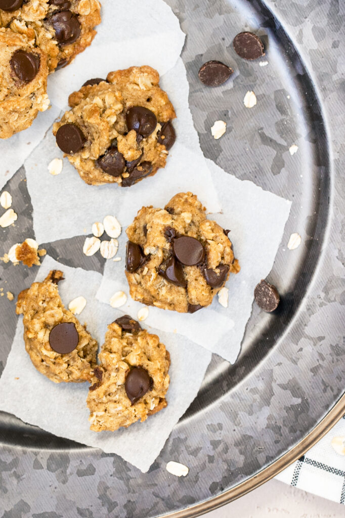 oatmeal chocolate chip cookies on a metal plate