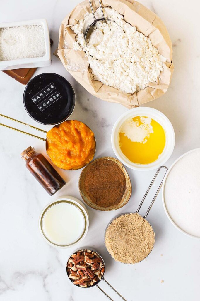 top down view of ingredients laid out of a counter