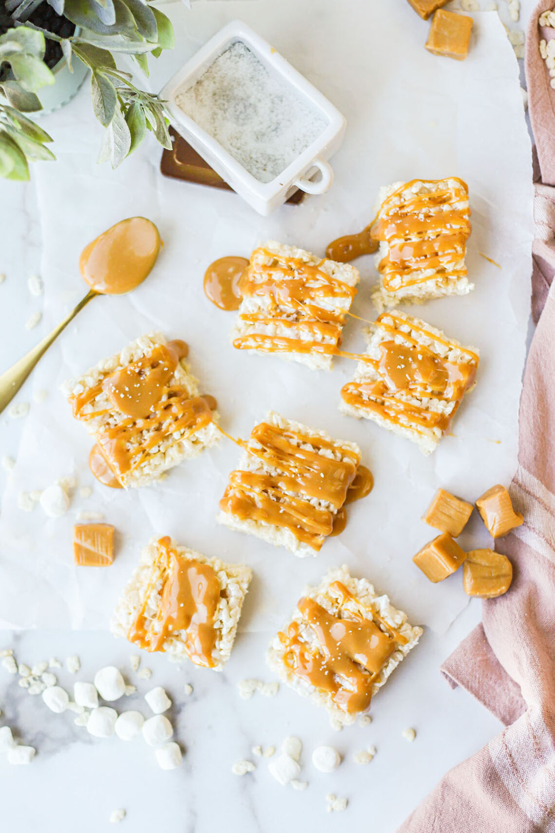 top down view of bars of salted caramel rice krispie treats