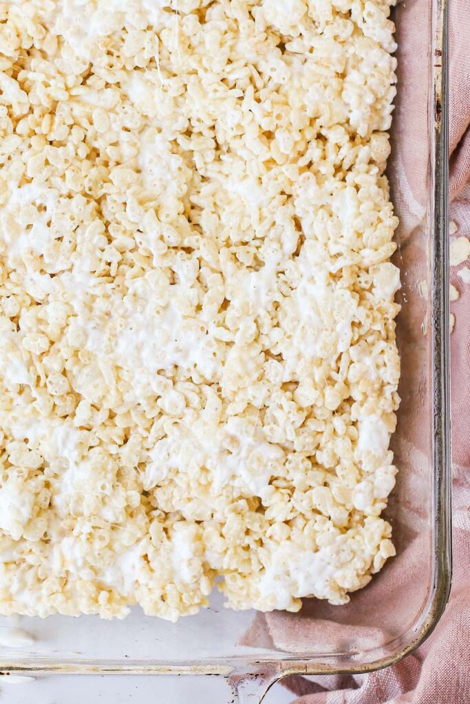 baking dish of rice krispie treats